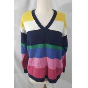 Chaps V-Neck Multi-Color Striped Sweater sz L